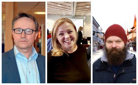 DEMOKRATISK UTFORDRING: - Arbeiderpartiet utarbeider en egen strategi mot netthets i valgkampen, forteller partisekretær Kjersti Stenseng (i midten). Ole Rolstad (H) og Lars Kjelkenes Giæver (MDG) har begge fått gjennomgå i sosiale medier.