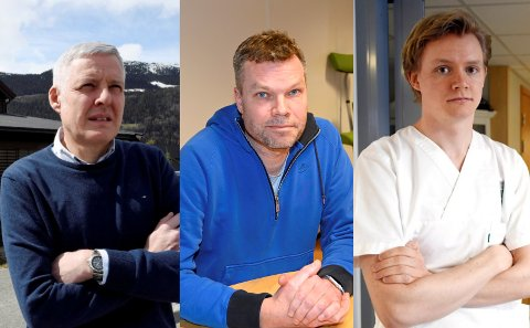 PRINSIPPSAK: Kommuneoverlegene Per Ove Hagestuen, Morten Bergkåsa og Anders Brabrand  mener Fylkesmannen blander seg opp i smittevernarbeidet på en uheldig måte.