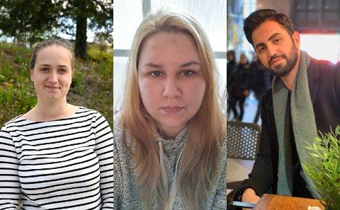 TØFFE TIDER: Martyna Konikaite, Silje MAria Bungum og Swara Mohammed ble permittert da koronarestriksjonene ble innført i mars. - Det har vært en økonomisk utfordring, forteller de.
