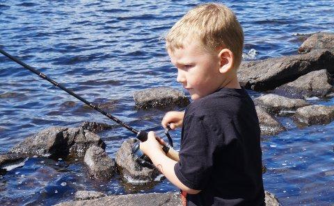 Matheo Andersen Meltzer (5) fikk dagens største fisk under Fiskesommer ved Harestuvatnet.