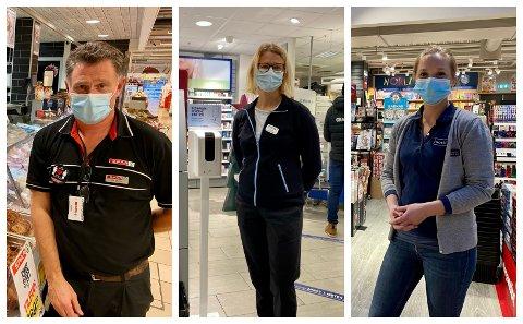 IKKE BEKYMRET: Roy Morten Lereng ved Spar, Kate Arnbo ved Apotek 1 og Simone Stadum ved Norli er ikke bekymret for at de ikke skal klare å overholde den nye forskriften for butikker.