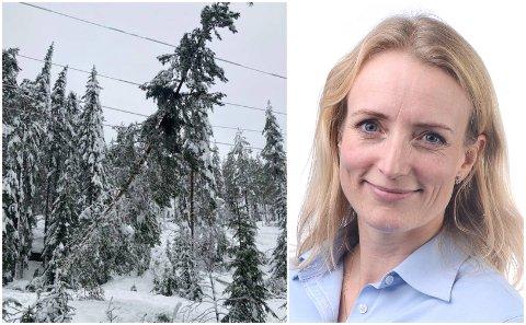 MER SNØ: Ragnhild Ask Connell i Glitre Energi frykter mer tung snø kan føre til flere strømbrudd på grunn av trefall. Hun forteller at de har forberedt seg godt.