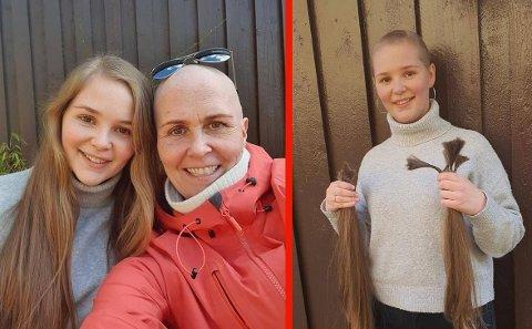 STOLT MOR OG TØFF DATTER: 11. mars fikk Irene Wold Aarbu beskjed om at hun var alvorlig syk med kreft. Hun ble satt på en sterk cellegiftkur og mistet håret. Da var datteren snar med å finne en måte å uttrykke sin kjærlighet og støtte til moren. For tre dager siden klippet hun selv av sitt lange hår og donerte det til noen som trenger det mer enn henne.