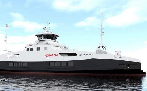 Nye: Boreal Sjø set inn nybygde hybridferjer frå nyttår. Dei vil gå mest på elkraft, men har biodiesel i reserve.           Illustrasjon: Multi Maritime