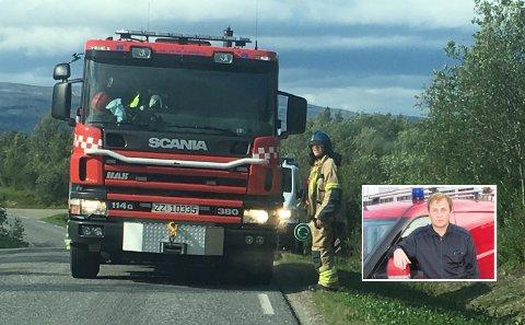TANKET FEIL: Porsanger brannvesen tanket avgiftsfri diesel på sin brannbil. Overbrannmester Kjetil Sjøveian (innfelt) er glad for at de slapp å tømme tanken, og at Skatteetaten viste nåde for feilen.