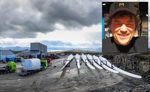 UTBYGGING: Dette bildet er tatt fra utbyggingen av vindmølleparken i Kattfjord tidligere i juli. Innfelt Lars Monsen, da han åpnet sin villmarksbutikk i Alta i juni.