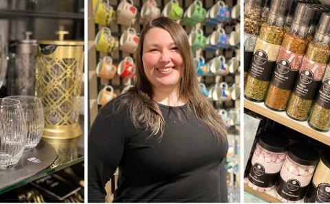 GLEDER SEG: – Jeg vet vi var en hel del søkere på stillingen så da jeg fikk beskjed om at jobben var min kom det en del gledestårer, sier butikksjef Kristine Marie Nilsen ved den nye Tilbords-butikken hos Amfi Kanebogen.