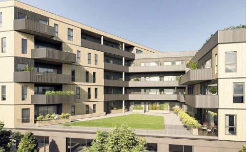 Nytt prosjekt: Linjegården skal rives. På tomta skal det bygges 80 nye leiligheter.illustrasjon: Bakke AS