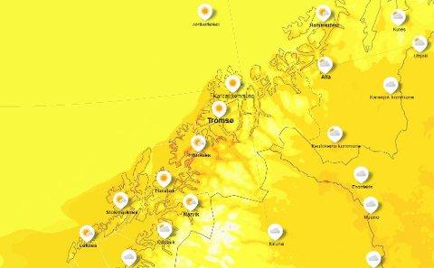 VARMT: De gule fargene tilsier 15-20 grader, mens de oransje områdene tilsier 20 grader eller høyere.