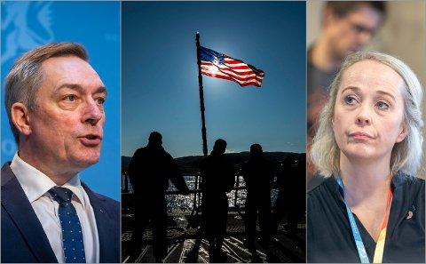 UENIGE OM UBÅTER: Frank Bakke-Jensen, forsvarsminister, og Mari Enoksen Hult, konstituert kommunaldirektør i Tromsø.