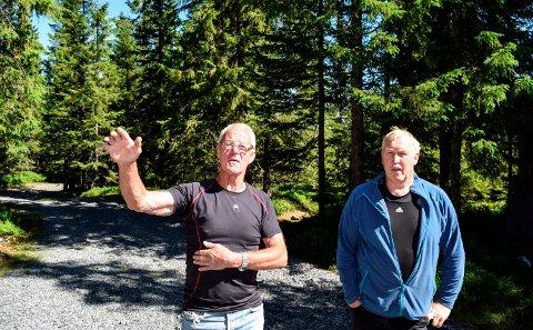 HYTTEEIERE: - Her var det åpen utsikt da hyttene ble bygd. Nå ser vi fram til hogsten som vil åpne opp igjen området, sier hytteeierne Alf Ove Degvold (t.v.) og Egil Dalby.