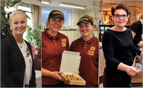 SMILEFJES: Silje Moen på Radisson Blu Beitostølen, Gunn Astrid Frydenlund og Mariann Halvorsen på Pizzabakeren Raufoss og Hege Valler Alfstad ved Kaffekruset på Skreia er blant dem som kan smile bredt etter Mattilsynets besøk.