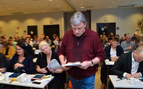 VANT FRAM: Arnfinn Uthus, Elverum Sp fikk fylkesårsmøtet i Hedmark Sp med på en uttalelse om støtte til omkjøringsveg i Elverum.