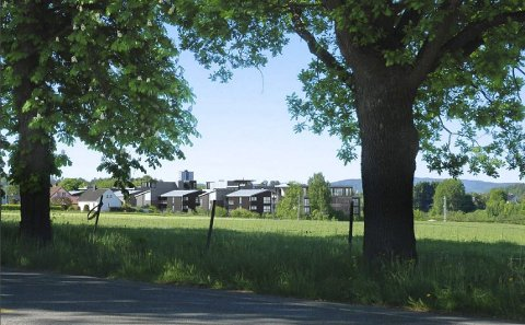BOLIGUTBYGGING: Dette er skisse for Osebakken Park med 160 boliger, sett fra Borgestadsletta.