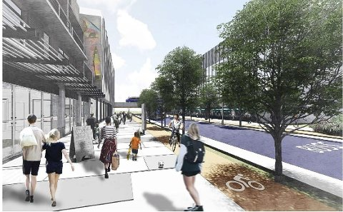 NYTT STASJONSOMRÅDE: Hvor nært, eller fjernt dette ligger for jernbaneområdet i tid framover vet ingen, men arkitekter leker seg med planer som nå skal studeres nærmere.