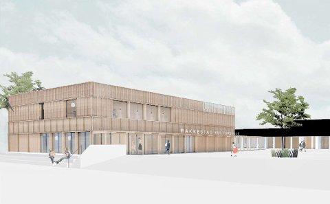 Kostbart: Kompleksitet og massivtre er to faktorer som har fordyret Rakkestad kulturskole. Foto: Skisse fra arkitekten Fragment og OsloTre.