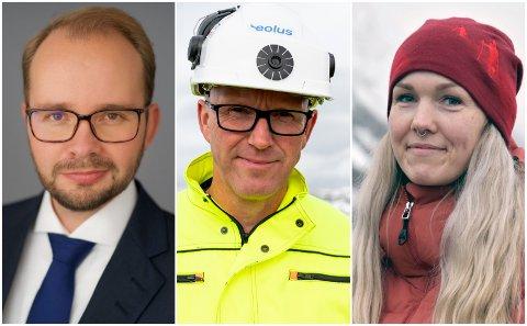 Advokat Pål Gude Gudesen (t.v.), Ørjan Rosvold, prosjektleder i Eolus Vind og Lena Mellingen, leder i Motvind - Bevar Øyfjellet.