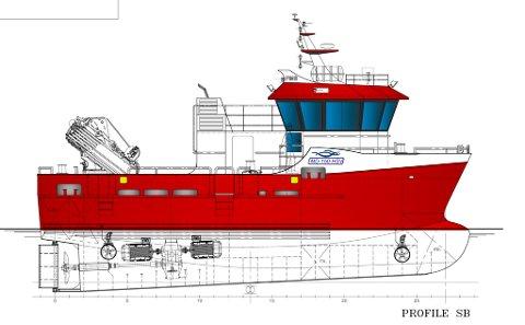Nova Sea AS har nå signert kontakt med Folla Maritime Service AS om bygging av en 50-fot lang arbeidsbåt, som skal brukes ved oppdrettsanlegg på Træna. Illustrasjon: Folla Maritime Service AS