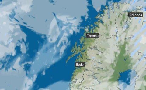 Vær-prognose søndag klokken 19.00.