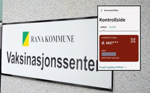 BLE RØDT: Øystein Einar Mathisen er vaksinert to ganger. Koronasertifikatet var grønt, men av ukjente grunner har informasjonen om den andre vaksinedosen forsvunnet fra registrene og dermed ble sertifikatet rødt.