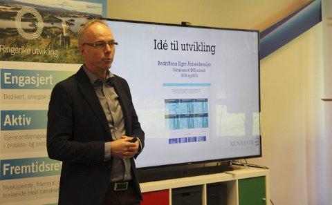 Steinar Aasnæss presenterte en idé studentene kunne videreutvikle med sin kunnskap og kompetanse, som ville være til stor nytte for næringslivet.