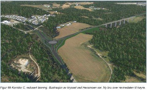 TIL HENSMOEN: Det nye veialternativet går fra Eggemoen til Hensmoen i stedet for Nymoen.