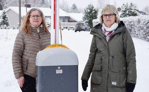 BORT: Denne bommen bør fjernes, mener Elin Hurum og Grethe Karin Hansen. De og mange beboere vil heller ha fartshumper.