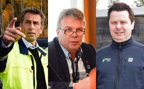 JOBBER FØRST: Tor Henrik Kristiansen (til høyre) og Dag E. Henaug (i midten) er opptatt av at Ringerike må få nye arbeidsplasser å tilby. De vil gi Rolf Jarle Aaberg (til venstre) og Treklyngen mer tid til å lage industripark.