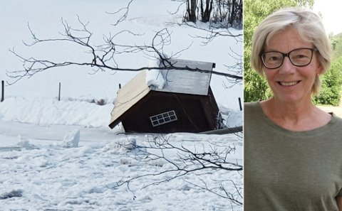 PÅ VIPPEN: Elveløpet hindres av is, derfor går elva over sine bredder og inn på fast grunn.  - Det har aldri vært så ille her, sier Ragnhild Garthus.