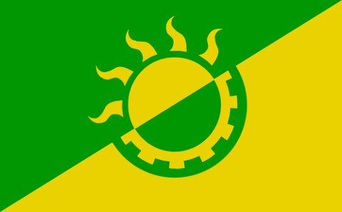 SOLARPUNK: Slik ser det ut, flagget som markerer Solarpunk. Kanskje veiver det i vinden oppe ved gamle Rjukan Varelager snart?