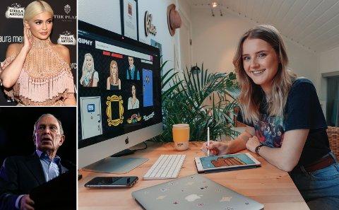 – Jeg bor i kollektiv med et eldre par: Mamma og pappa, smiler Nora Nymo Fikse (26). Fra Jessheim lager hun animerte gifer for verdenskjente navn som Kylie Jenner og Mike Bloomberg.