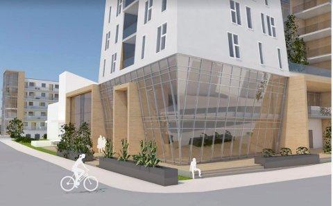 SIGNALBYGG: Pinsemenigheten Salem skal benytte de to nederste etasjene, bak glassfasaden. Over blir det boliger som skal finansiere kirkebygget. (Illustrasjon: PV Arkitekter)