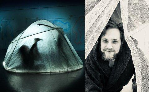 TELTDANS: Her titter sandefjording Markus Christensen ut av teltet ha inviterer deg inn i. Publikum blir også en del av forestillingen.