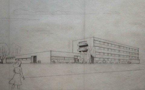 Ingen ny idé: Dette er Ove Bangs arkitekttegning fra 1940, med tanke på utbygging av biblioket.
