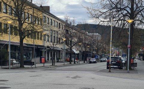 Kongens gate i Steinkjer søndag 16. mai 2021.