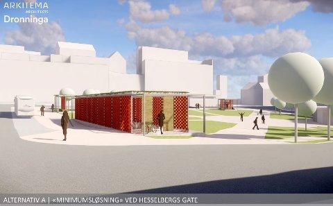 SYKKELHOTELL: Slik kan det nye sykkelhotellet i Skien sentrum bli.