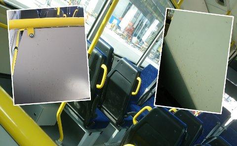 SKITT: En TA-leser har tatt flere bilder på bussen, som hun mener ikke blir vasket godt nok.