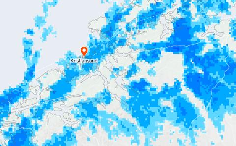 Kartet viser nedbør på Nordmøre torsdag morgen.