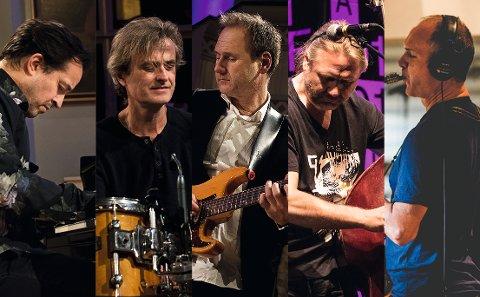 FRA SANDEFJORD: Hans Mathisen med band kommer tilbake til Tønsberg 4. november. Fra venstre: Jason Rebello (tangenter), Audun Kleive (trommer), Hans Mathisen (gitar), Per Mathisen (bass) og Bendik Hofseth (saksofon).