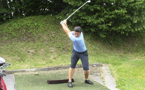 Startet i Drøbak:  Her, på driving rangen til Drøbak Golfklubb, har Viktor Hovland lagt noe av grunnlaget for det som har blitt en meget spennende golfkarriere.   Nå spiller han på golfens største arena, nemlig PGA-touren. Arkivfoto: Per Wollbraaten