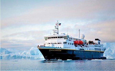 """""""National Geographic Explorer"""" ankommer Risør 26. mai, og er foreløpig det eneste større fartøyet som har bestilt plass ved Dampskibsbrygga."""