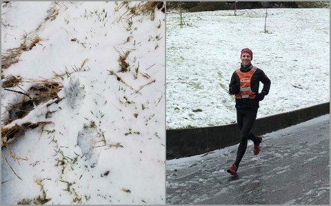 Her spring Kasper heim att etter joggeturen laurdag morgon, då han fann uvanlege spor i terrenget utanfor Manger.