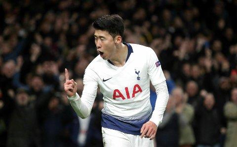 Son Heung-min er suspendert i den  første semifinalen i Champions League. Det betyr at han antakeligvis er spillesugen før lørdagens lokaloppgjør mot West Ham. Vi tror han scorer i lørdagens match. (Adam Davy/PA via AP)