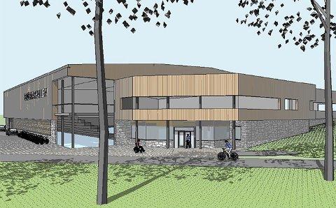 Byrådet har fått en utredning som viser at en ny versjon av Bjørnarhallen i Garnes kan bli slik, til en prislapp på rundt 120 millioner kroner. Det inkluderer kostnadene ved å rive dagens hall. Skisse: Rambøll AS