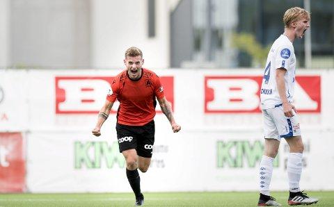 Ole Didrik Blomberg står på blokken til flere klubber både i Norge og utlandet. Mot Grorud utlignet han til 1–1.