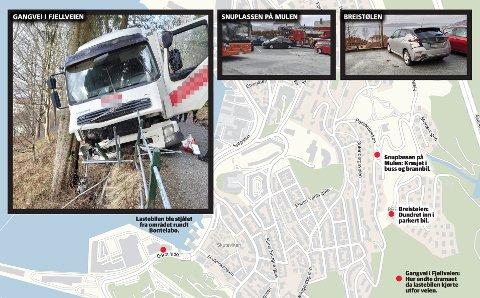 Punktene på kartet viser hvor de ulike hendelsene skal ha funnet sted. Foto: BA-tipser, Eldri Hatleli og Birthe Steen-Hansen/Grafikk: Camilla Ziener