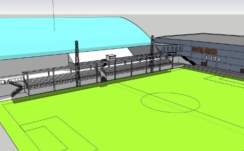 Sotra SK vurderer bygge nytt tribuneanlegg, utvide banen, bytte kunstgress og forbedre lysanlegget for å oppfylle fotballforbundets krav til kamparenaen.