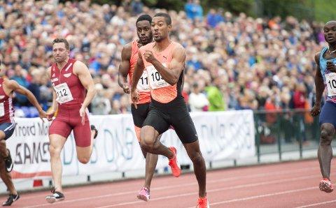 Flere utlendinger, OL-mester Karsten Warholm og store deler av den lokale friidrettseliten skal delta på BA-sendte Trond Mohn Games i dag. Her ser vi Jonathan Quarcoo under arrangementet i 2018.