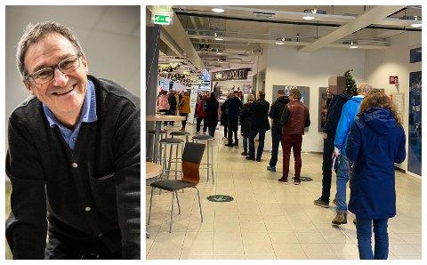 FORVENTA: Det har danna seg lange køar utanfor polet i Førde dei siste dagane. – Eg hadde forventa verre, seier butikksjef Bjørn Kristian Sunde.