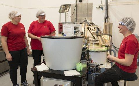 NYTT PRODUKT: Her er «Lypsyl-pikene» i produksjonen ved Orkla-fabrikken på Flisa. I forrige uke produserte fabrikken sine første Lypsyl-hylse, og planen er å levere to millioner eksemplarer i fire forskjellige varianter det kommende året. Fra venstre: Kine Juliane Bareksten, Rita Berntsen og Hege Lund-Vang.ALLE FOTO: PER HÅKON PETTERSEN
